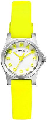 Marc by Marc Jacobs Watch Women s Dinky Safety Yellow Leather Strap 21mm MBM1235 Marc by Marc Jacobs