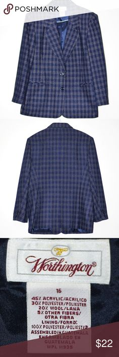 """Navy Plaid Blazer Suit Jacket Sports Coat NWOT 16 Navy Plaid Blazer Suit Jacket Sports Coat NWOT 16 By Worthington Tag Size 16 (L-XL) Measurements flat across: Shoulders 18""""  Sleeves: 23""""  Length center back 29""""  Unerarms seam to seam 22"""" Navy Blue with Wheat micro plaid - Navy is the new black! Unworn no tags or packaging included Worthington Jackets & Coats Blazers"""