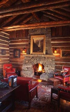 Love the Western themed cabin. These Molesworth chairs are beautiful. Log Cabin Living, Log Cabin Homes, Log Cabins, Porches, Rustic Cabin Decor, Rustic Cabins, Boho Home, Cabins And Cottages, The Ranch