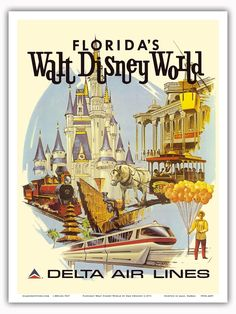 Delta Air Lines Florida Walt Disney - Sweeney - 1971 Vintage Travel Poster Print