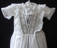 Maria Niforos - Fine Antique Lace, Linens & Textiles : Antique Christening Gowns & Children's Items # CI-73 Rare Christening Gown w/ Birds & Valencienne Lace