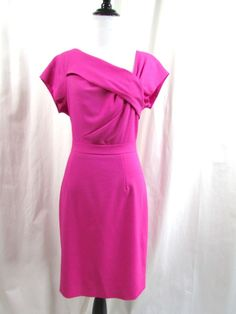 J.Crew Origami Wool Crepe Dress Fuchsia Pink Career Size 4 Excellent #JCrew #Sheath #WeartoWork