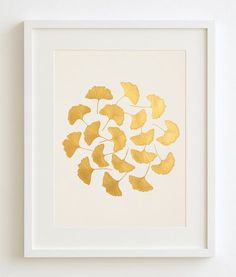 Golden Ginkgo Leaves Painting – Original Handmade Acrylic Artwork – Quality Piece Made With Love – A Classic Style Gift – Fits Ikea Frames Gold handgemalte Original Gemälde von Ginkgo von SilkeSpingies Gold Metal Wall Art, Gold Wall Decor, Gold Home Decor, Gold Art, Gold Gold, Art Floral, Deco Floral, Painted Leaves, Hand Painted