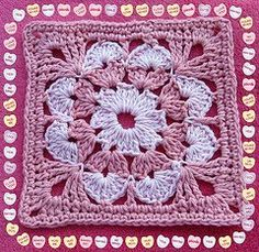 Pattern by Lilly, yarns by Peaches N Creme; Crochet Flower Squares, Crochet Square Blanket, Crochet Circles, Crochet Blocks, Granny Square Crochet Pattern, Crochet Motif, Diy Crochet, Crochet Doilies, Crochet Stitches