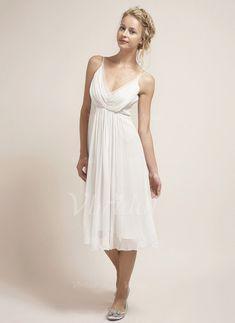 Brautkleider - $134.41 - Empire-Linie V-Ausschnitt Knielang Chiffon Brautkleid mit Rüschen (0025100679)
