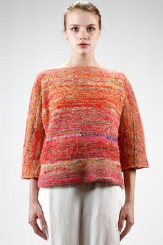 hip length knitted sweater in multicolor linen and cotton - 195 Knitting Ideas, Hand Knitting, Knits, Runway Fashion, Knit Crochet, Knitwear, Street Style, Pullover, Patterns