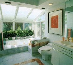 Vintage Interior Design, Vintage Interiors, Modern Interior, Hill Interiors, Dream Bathrooms, Home Decor Furniture, Sun Bath, Vintage Decor, 1980s