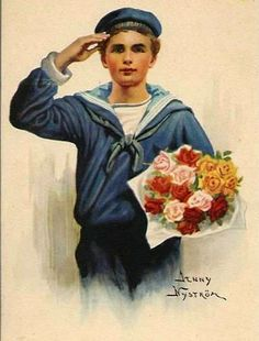 Salute For The New Year Jenny Nystrom Nyström Vintage Cards, Vintage Images, Vintage Clip, Munier, Vintage Sailor, Boy Illustration, Decoupage, New Year Greetings, Old Fashioned Christmas