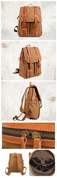 Fashion Canvas Backpack Hiking Backpack Travel Backpack Laptop Backpack School Backpack FB17 -------------------------------- - 16oz Waxed canvas - Cotton lining - Inside one pocket for cell, one pock