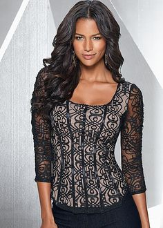 Lace overlay corset top from VENUS. Sizes XS-XL!