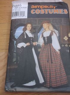 Sewing Pattern Simplicity 8855 Scottish Celtic Costume Sz 14-20 Bust 36-42  #Simplicity
