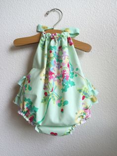 Mint Water Bouquet Ruffled Baby Girl Romper