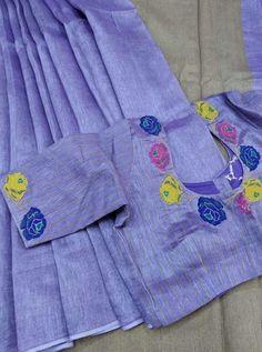 Attractive Purple Color With Purple Printed Blouse Heavy Linen Cotton Saree. Cotton Saree Designs, Fancy Blouse Designs, Saree Blouse Designs, Blouse Patterns, Blouse Models, Saree Models, Diana, Printed Blouse, Work Blouse