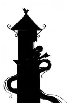 "fairytaletastic: ""Before I get into any more fairy tale fun, I must give credit to the stunning art I am so lucky to have here. The reading Rapunzel (in a silhouette style as a homage to Arthur. Disney Silhouette Art, Disney Princess Silhouette, Castle Silhouette, Disney Rapunzel, Disney Diy, Disney Crafts, Disney Trips, Tangled Castle, Tangled Tower"