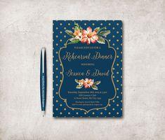 Florales de la boda ensayo cena invitación imprimible, oro y azul ensayo invitación, invitación de la marina de guerra de ensayo, Marina de guerra oro invitación