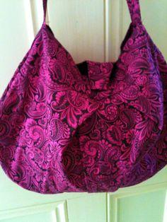 handmade pink and black paisley hobo bag! -$30