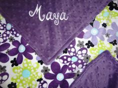 Personalized Baby Girl BlanketPurple & Lime Floral by BabyBeulah, $42.00