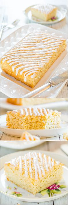 Sweet Cream Vanilla Coffee Cake Recipe ~ You'll never guess what special ingredient keeps this fast & easy cake so soft and moist!