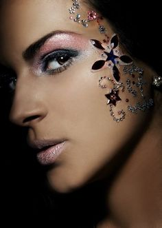 Where Professional Models Meet Model Photographers Kiss Makeup, Hair Makeup, Pretty Makeup, Makeup Looks, Face Rhinestones, Rhinestone Makeup, Jewel Makeup, Fantasy Make Up, Face Gems