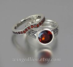 LAUREL CROWN 14k gold Garnet engagement set ring and by WingedLion