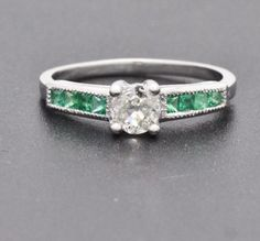3700-Deco-Platinum-1-00ctw-H-SI1-European-Cut-Diamond-Emerald-Engagement-Ring
