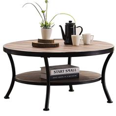 7fbd33857a1f2 A stylish industrial or farmhouse style round coffee table that you can  purchase in a matching