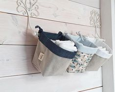 Nursery organizer baskets, storage baskets, nursery organization, Diaper/Nappy Caddy, Nursery Decor, Storage Caddy, Nursery Storage Bins Three fabric boxes with laces for tying on the baby's bed, crib or hanging rod, also suitable for placing on a changing table or a shelf.