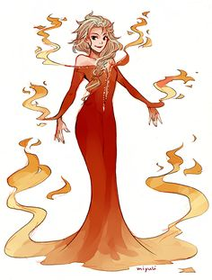 miyuli (I felt like drawing Elsa in different dresses!...)