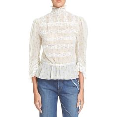 MARC BY MARC JACOBS Lemon & Dot Print Cotton Voile Blouse (€360) ❤ liked on Polyvore featuring tops, blouses, off white multi, vintage blouse, ruffle neck blouse, peplum tops, 3/4 sleeve blouse and vintage white blouse