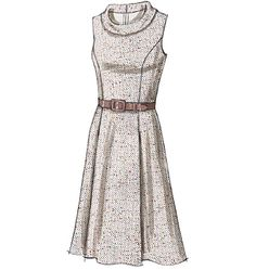 Vogue 8667 - princess seamed dress with straight/pleated skirts and scoop/cowl necks