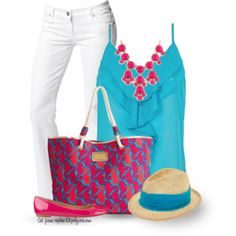 Lilly Pulitzer Tote with a Fedora
