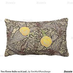 Two Flower Bulbs on A Leaf Background Pillows
