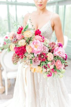Gorgeous Greenhouse Inspo at The Styled Shoots Across America Conference | The Perfect Palette Pink Wedding Theme, White Wedding Bouquets, Flower Bouquet Wedding, Bridesmaid Bouquet, Floral Wedding, Wedding Dresses, Wedding Ceremony, Our Wedding, Wedding Ideas