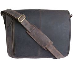Men's Large Brown Distressed Leather Messenger Bag By Woodland Leather