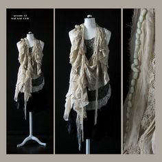 Blouse Neo Victorian  Handstitched  Unique Wearable Art  by Jevda