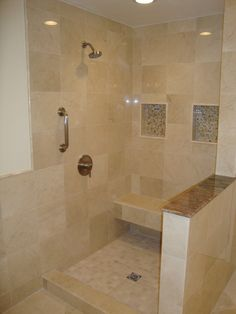 Bathroom shower on pinterest showers bathroom showers for Crema marfil bathroom designs