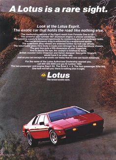 Lotus Esprit Ad - for more Lotus inspirations, check out our profile.