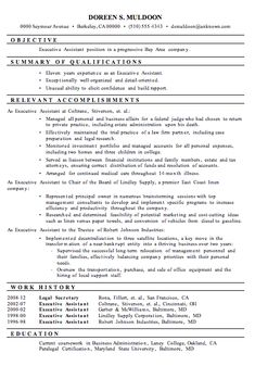 resume sample executive assistant functional