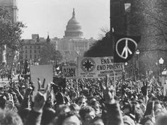 Anti-war protestors demonstrate in Washington on Moratorium Day on November 15, 1969