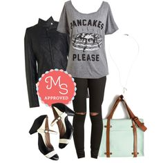 In this outfit: Cut Me Some Stacks! Tee, Sojourn to Soho Pants, What Motors Most Jacket, Refined Your Purpose Heel, Nice Feather We're Having Necklace, Camp Director Tote #casual #graphictee #pants #leatherjacket #streetstyle #outfits #ModCloth #ModStylist #fashion
