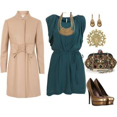 fall wedding outfit. I love the dress, shoes, and earrings. but that's about all.