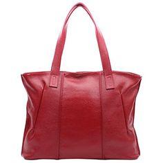 Leathario Fashion woman pure color leather handbag crossbody shoulder satchel tote bag >>> Visit the image link more details.