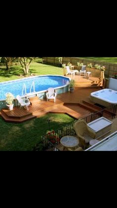You've chosen a deck over a patio. Need deck ideas? Enjoy this slideshow of deck design ideas and pictures for your next project. Above Ground Pool Landscaping, Backyard Pool Landscaping, Backyard Pool Designs, Landscaping Ideas, Backyard Ideas, Fence Ideas, Pool And Deck Ideas, Patio Ideas, Pool With Deck