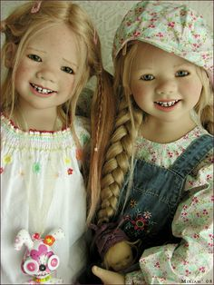 A repin of sister dolls created by Annette Himstedt, Tetti and Lillemore #doll #Himstedt