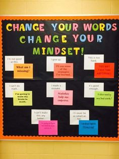 Change Your Words Change Your Mindset Nurse Bulletin Board, Counseling Bulletin Boards, Classroom Board, Classroom Bulletin Boards, Middle School Classroom, Classroom Crafts, Classroom Ideas, School Office, High School