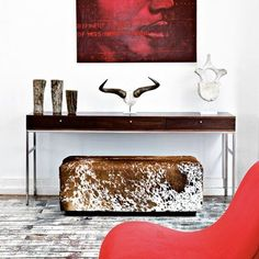 Cow skin seat and red