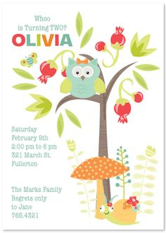 Birthday Party Invitation, Owl in the Forest, from Julie Bluet. From the Enchanted Garden Collection this invitation can be personalized or purchased blank. www.juliebluet.com