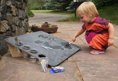Slate Tablet - A REAL solid slate drawing surface for kids to use water, chalk, paint etc. Put it outside somewhere for a quiet creative retreat.