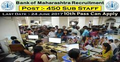 Bank of Maharashtra InvitesOnline Applications from, those people satisfying certain pre define requirements for filling current job for the Post of 450 Part Time Sub Staff. Interested applicants need not get worried as associated details regarding the Bank of Maharashtra 2017 – 2018 is provided and explain here. Interested aspirants people can get information for …