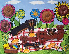 DACHSHUNDS FAMILY PICNIC Puppies Doxies DOGS Art Original Painting 8x10 ELLISON